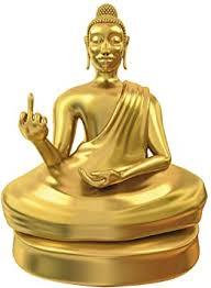 monsterzeug kleine buddha statue mit mittelfinger goldener deko buddha witzges gadget zum hinstellen coole dekoration für wohnzimmer und büro