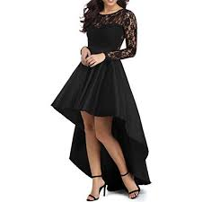 YSMei Womens High Low Long Sleeve Prom Evening Dress Lace Vintage Cocktail Gowns Black 8