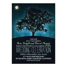 Rustic String Lights Tree Wedding Invitation Card