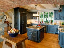 DecorationsFrench Country Brick Kitchen Design With Compact Island And Cherry Wood Floor
