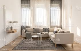 beige grau und weiß wohnzimmer interior design mit ecksofa und zwei couchtische stockfoto und mehr bilder behaglich