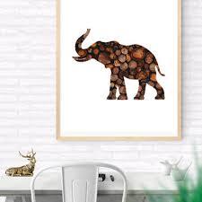 Elephant Printable Wall Art Wood Woodland Print