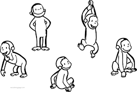 Five Curious George Monkey Coloring Page