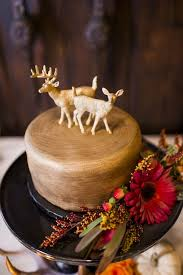 Rustic Gold Wedding Cake With Deer Toppers