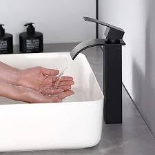 wasserfall wasserhahn bad schwarz waschtischarmatur cecipa