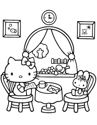 Hello Kitty At Home Coloring Page