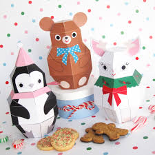 Teddy Penguin And Reindeer Treat Boxes Printable Paper Christmas Crafts