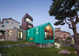 100 South Korea Home This Bright Teal Tiny House Features An Observation Tower For