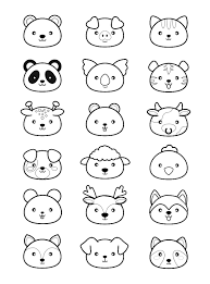 Kawaii Style Animal Heads To Print Color Pig Cow Cat
