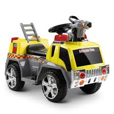 Kid's Electric Fire Truck 6V In Yellow – Kids Mini Ride