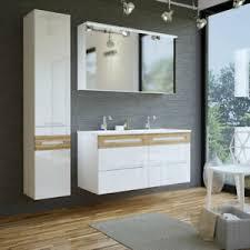 details zu badezimmer set weiß eiche doppel waschtisch mit unterschrank waschbecken keramik