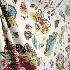 Jacobean Floral Curtain Fabric by Brissac Amber Floral Jacobean Linen Fabric Traditional Drapery