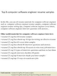 Sample Resume For Software Developer Top 8 Computer Engineer Samples In This File You