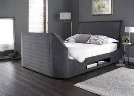 Maximus Charcoal Fabric Multi Media Super King Size TV Bed Frame