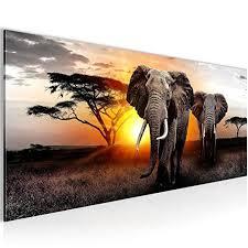 bilder afrika elefant wandbild 100 x 40 cm vlies leinwand