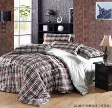 Art Deco Boys Bedroom Decor With Cheap Queen Size Silk Comforter Set Brown Red Plaid