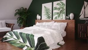 schlafzimmer idee im dachgeschoss mit grüner wand beispiel