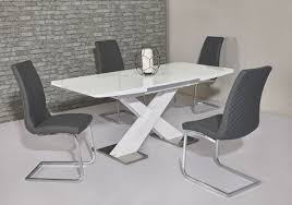 100 White Gloss Extending Dining Table And Chairs Niomi White High Gloss Extending Dining Table With Chairs Option ModernFL