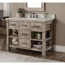Infurniture Rustic Style Carrara White Marble Top 48 Inch Bathroom Vanity