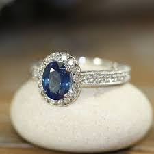 Halo Diamond And Natural Blue Sapphire Ring 14k White Gold Vintage Style Engagement 8x6mm Oval