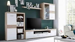avanti trendstore milon wohnzimmer wand mit led beleuchtung aus sonoma eiche laminat und farbe weiß maße 300 x 190 x 38 cm