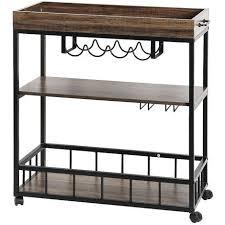 servierwagen küchenwagen küchenregal aus holz und metall für küche und wohnzimmer 79 40 90cm