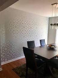 A DIY Stenciled Dining Room Accent Wall Using The Tea