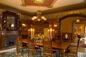 Victorian Style Dining Room With Mirror And Wallpaper Carpet Fireplace