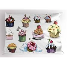 Dessert Pillow Sham Yummy Cupcake Medley With Sprinkled Frosting And Cherry On Top Sketchy Illustration Decorative Standard King Size Printed