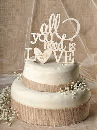 Rustic Cake Topper Wood All You Need Is Love Engraved Wedding Model No 03 RUS CT