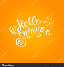Hello Summer Hand Drawn Brush Lettering Typography Inscription On Orange Background Poster White Typeface Texture