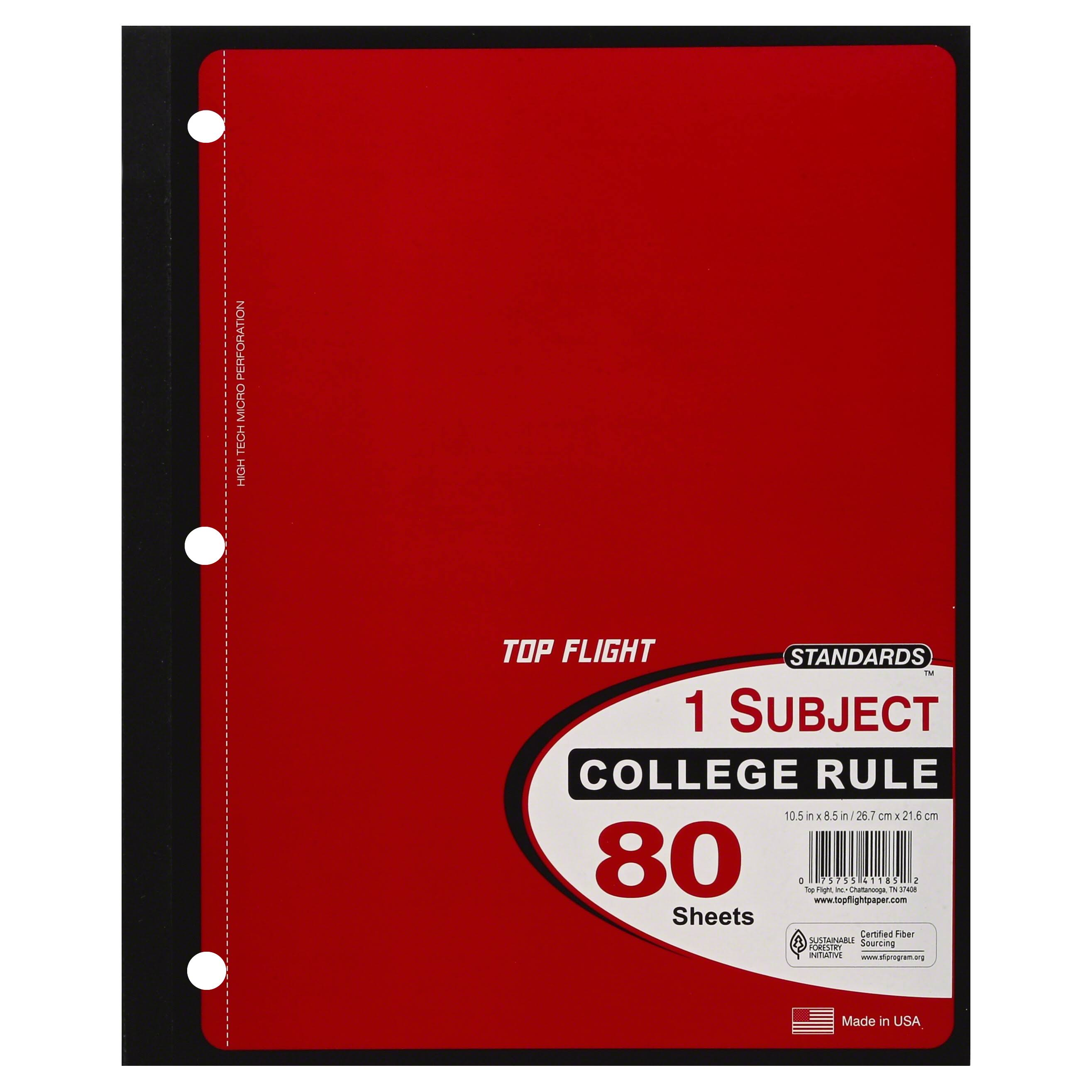 Top Flight Standards 1-Subject Notebook - 80 Sheets, Wide Rule, 10.5in x 8in