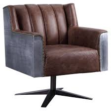 Acme 92553 Brancaster Brown Leather Finish Industrial Office Chair ...