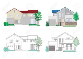 100 Four Houses Illustration Of On White Background Royalty Free