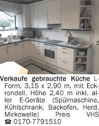 einrichtung und mobiliar verkaufe gebrauchte küche l form