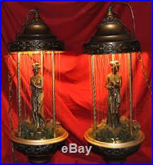 Hanging Swag Oil Rain Lamp by Vtg Pair Roman Goddess Lady Rain Oil Lamp Hanging Swag Light