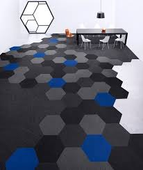flooring ideas hexagon carpet tiles pattern with 3 colors for