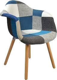 ts ideen 2er set design klassiker patchwork sessel retro 50er jahre barstuhl wohnzimmer büro küchen stuhl esszimmer sitz holz stoff bunt blau
