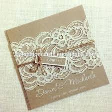 Wedding Invitations Vintage Lace Hot Sale Square Rustic Invitation Card With Tag