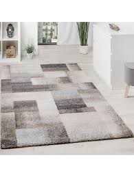 paco home teppich meliert modern webteppich hochwertig kariert beige creme grau klingel