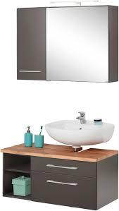 badmöbel set davos 3 tlg bad spiegelschrank mit led beleuchtung hängeschrank und waschbeckenunterschrank