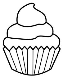 Drawn cupcake line drawing 2