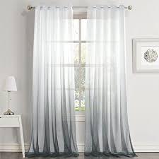 dreaming casa farbverlauf vorhang grau voile gardinen transparent mit ösen ösenschal dekoschal fensterschal für wohnzimmer schlafzimmer 140cm x 225cm