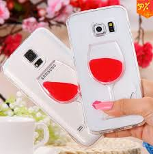 Red Wine Cup LIQUID WATER Transparent Case Cover For Samsung Galaxy S6 Edge
