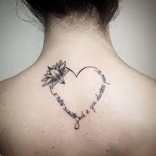 Feminine Heart And Infinity Tattoo On Back