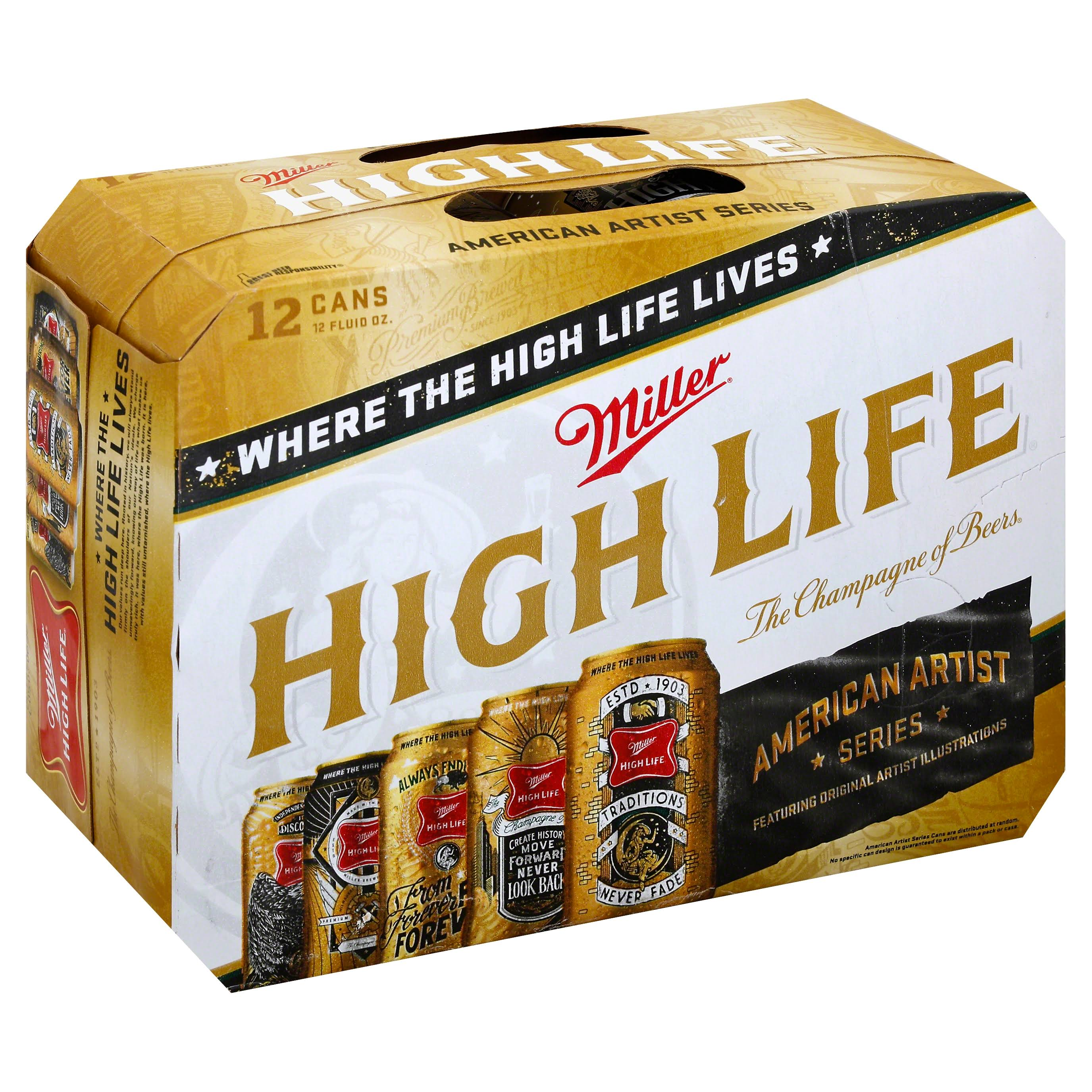 Miller High Life Beer - 12oz, 12 Pack