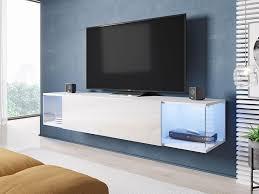 mirjan24 hänge tv lowboard vigo sky tv schrank vom hersteller stilvoll rtv weiß weiß hochglanz mit blauer beleuchtung