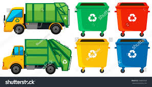 Rubbish Truck Cans Four Colors Illustration Stock Vector (Royalty ...