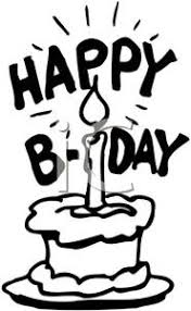 Black and White Happy Birthday Cake Royalty Free Clipart Picture