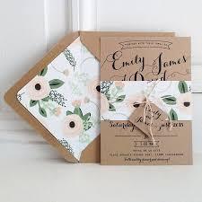 Kraft Wedding Invitation Suite Lined Envelopes Bakers Twine Floral Invitations